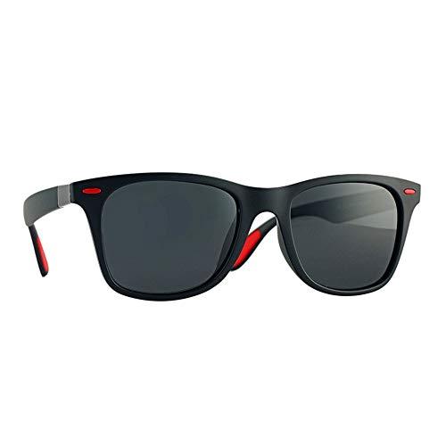 Easy Go Shopping Angeln Fahren Sonnencreme UV400 Kunststoff Acryl Polarisiertes Licht Full Frame Platz für Herren Outdoor Sonnenbrillen und Flacher Spiegel (Color : Black red Label)