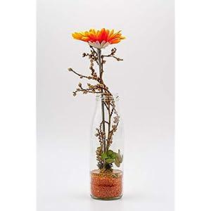 Tischgesteck mit Gerbera,Canella+Milchflasche-rustikale Tischdeko mit künstl.Blumen