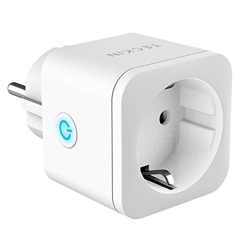 Presa Intelligente WiFi Smart Mini Plug Spina Compatibile con Google Home/Amazon Alexa/IFTTT,TECKIN Controllo Remoto Funzione di Temporizzazione Presa Wireless per iOS Android App