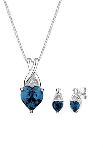 Elli Damen-Schmuckset Halskette + Ohrringe Herz 925 Silber mit Swarovski Kristallen im Herzschliff blau   - 0912770414_45