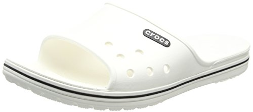 Crocs Unisex Adults' Crocband2Slide Flip-Flops, White (White/Black), 10 UK 45/46 EU