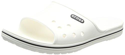 Crocs Crocband 2 Slide, Unisex - Erwachsene Badeschuhe, Weiß (White/black), 48/49 EU