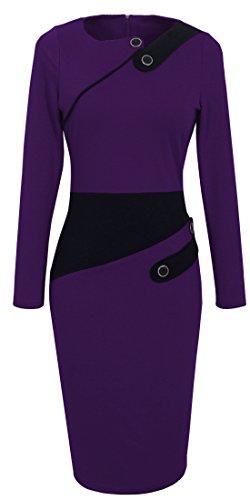 HOMEYEE Women's Voguish Colorblock Wear to Work Pencil Dress UKB231, B63