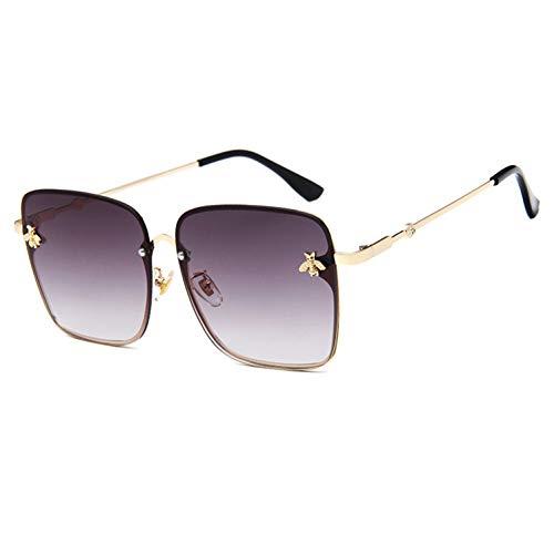YLNJYJ Sonnenbrillen ModeDame OversizeRandlosePlatz Sonnenbrille FrauenKleineBiene Brille Gradienten SonnenbrilleFür WeiblicheUv400