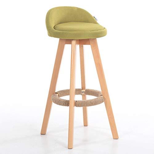 GXJ-stool Drehbarer Stuhl, Holz Tuch Atmungsaktive Hohe Hocker Haushalt Retro Barhocker Wasser Bar Grill Barhocker Stuhl Höhe 70 cm (Farbe : Grün) (Grüner Tee Make-up-tücher)