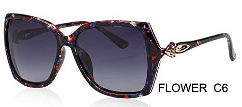 LKVNHP Fox Aussehen Design Schmetterling Kunststoff Sonnenbrille Frauen Polarisierte Retro Uv400 Mode Fahren Brillen Mujer BrilleWPGJ181 Blume c6
