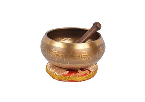 Tibetische Meditations-Gesangschale mit Spezial-Ätzung und ethnischen Fall. Für Achtsamkeit, Entspannung und Heilung (SING-SANKHA(Gold-1)-L -