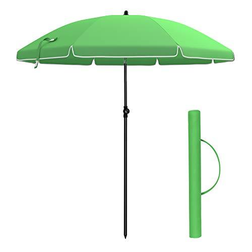 SONGMICS Sonnenschirm, 180cm, Marktschirm, Sonnenschutz, achteckiger Gartenschirm aus Polyester, knickbar, mit Tragetasche, ohne Ständer, für Strand, Garten, Balkon und Schwimmbad, Grün GPU60GN