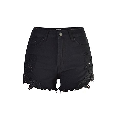 Preisvergleich Produktbild iRachel Damen Sexy Short Hotpants Spitze Häkeln Tassel Hohe Taille Denim Short kurze Hose