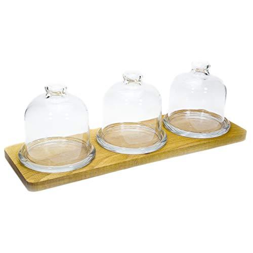 9 8 Oz Jar (The Mammoth Design - Gourmet Serviertablett aus Holz mit 3 Gläsern für Kekse, dekoratives und stilvolles Serviertablett für Frühstück und Party, 4-teiliges Set)
