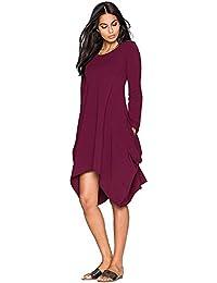 2a8fbfe3152 Minetom Summer Women s Casual Round Neck Short Sleeves Irregular Hem  Pockets Solid Color T-Shirt Beach Dress