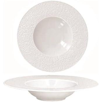 Assiette à pâtes pasta Porcelaine Blanche 23 cm / 30 cl Zen Martelé - Lot de 6