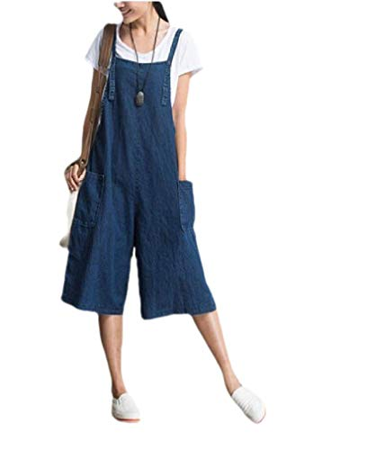 CuteRose Women Loose Cozy Denim Stylish Palazzo Trousers Wild Bib Overalls Blue L - Womens Denim Bib Overall