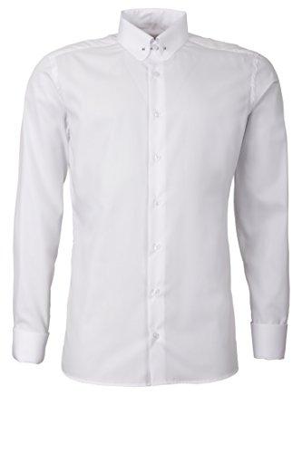 Schaeffer Hemd Regular Cut uni weiß Piccadilly Kragen / Pin Collar Collar Pin Shirt