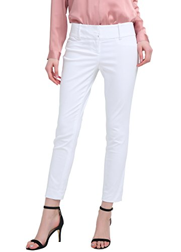 YTUIEKY Damen slim hip push up Crop elastische Straight Leg Hose 2/R-Weiß (Capri Lounge-hose)