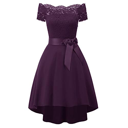 Laorchid Vintage Damen Kleid Spitzenkleid Off Schulter Cocktail Knielang A-Linie Lila XL Lila Cocktail