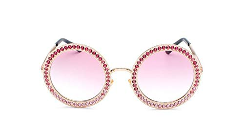 It's-ok Luxury Metal Round Sunglasses With Crystal Round Sun Glasses Female Black Rhinestone Shades,C1 Gold Pink