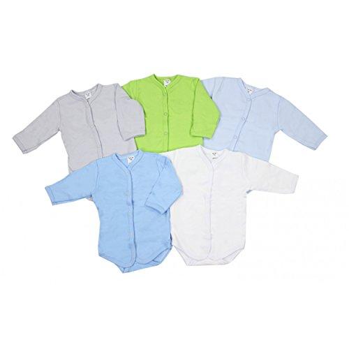 Baby Langarm-Body Wickelbody Babybodys Jungen 100% Baumwolle Mädchen Bodies im 5er Pack, Farbe: Junge, Größe: 56