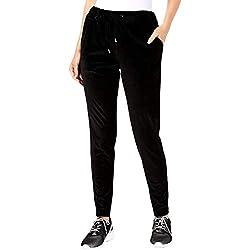 Michael Kors Womens Velvet Shimmer Sweatpants Black L