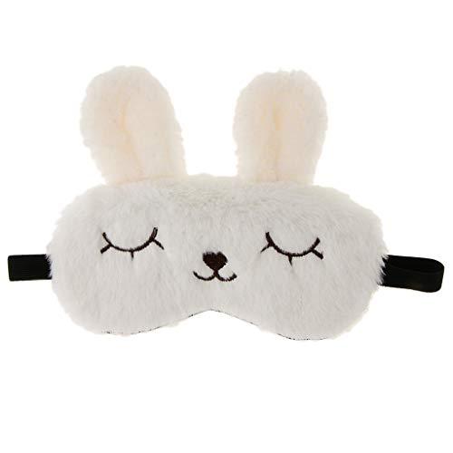 n-Kaninchen Schlafmaske Schlafbrille Augenmaske Eye Reise Maske Augenbinde Schlafbrille für Kinder Erwachsene - Weiß ()