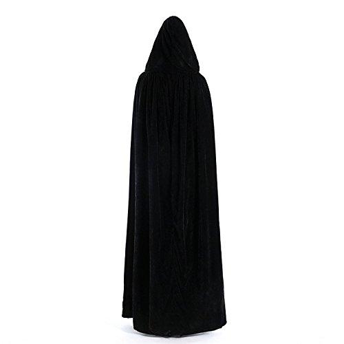 Dressvip Halloween Party Cape Longue avec Capuche en Velours Noir Cosplay Costume Noir-bleu