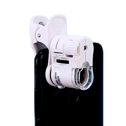 Jiusion 60X Mobile Clip Mikroskop & Nackte Augen Lupe 2-in-1 Tragbare Mini Lupe mit LED/UV-Licht für Bargeld Schmuck Münzerkennung Mikroobjektiv Kamera für Universal iOS Android Samsung Handy Tablet