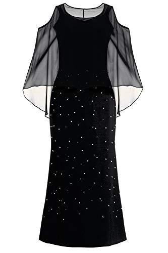 Ulla Popken Große Größen Damen Negligee Abendkleid mit Perlenbesatz, (Schwarz 10), 54