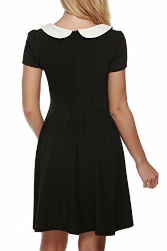 Zearo Damen Kleider Umlegekragen Kurzarm Rücken Reißverschluss O-Ausschnitt Freizeit Shwarz