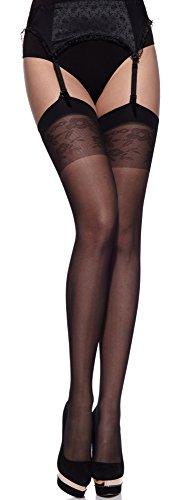 Merry Style Donna Trasparenti Calze Autoreggenti MS 227 20 DEN (Nero, XS-S)