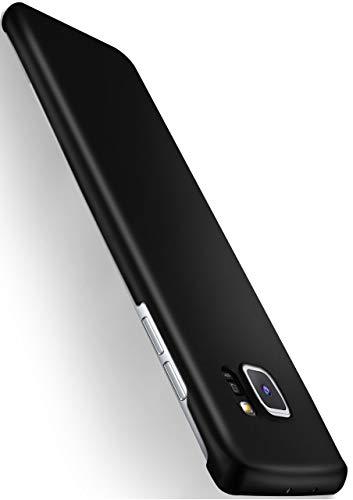 moex® Backcover [Ultra-Slim Design] passend für Samsung Galaxy S6 Edge | Stabile Hartschale mit optimalem Stoß- und Kratzschutz - Matt Metallic Schwarz