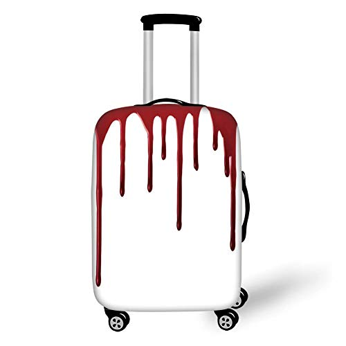 Travel Luggage Cover Suitcase Protector,Horror,Flowing Blood Horror Spooky Halloween Zombie Crime Scary Help me Themed Illustration,Red White,for Travel,M
