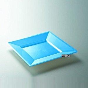 12 assiettes jetables carrées plastique couleur turquoise nacrée 18 cm - Adiserve -
