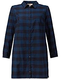 6e5551686bf Ulla Popken Women s Plus Size Eco Cotton Plaid Shirt Tunic Dress 719498