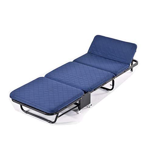 Cama Plegable Azul Inicio Tríptico Tablero de Madera Refuerzo de Esponja Siesta Simple para Adultos Rollsnownow (Tamaño : 110cm)