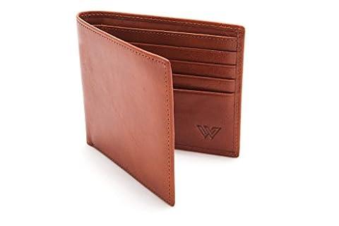 Walletech RFID Blocking Portefeuille en cuir italien pour homme Design fin, élégant avec porte-cartes