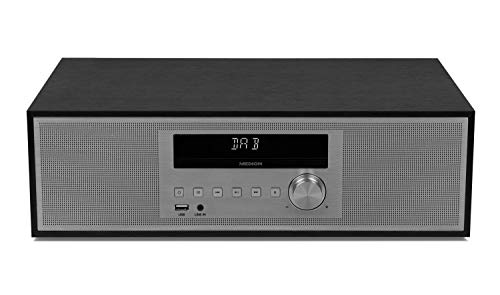 MEDION P64477 CD Mikroanlage (Bluetooth 2.1, DAB+, 2 x 15 Watt RMS, PLL UKW, AMS, LED-Display) schwarz
