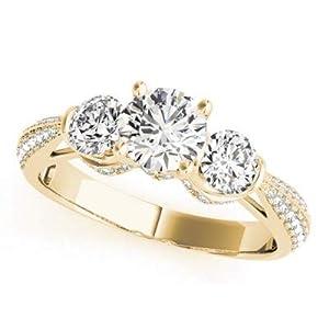 Damen-Ring Verlobungsring 14 Karat (750) Rotgold massiv 1,63 Karat (750) Weißgold Gelbgold gestempelt Größe P O K L J H G Q N M