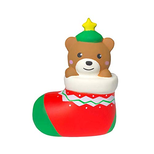 YUYOUG 2019 New Squishy Adorable Cartoon Christmas Sock Bear Scented Jumbo Charm Super Slow Rising Squeeze Dog Stress Reliever Toy Christmas Birthday Gift