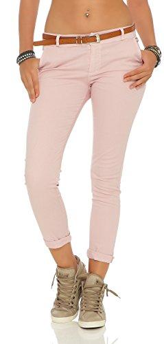 ZARMEXX Damen Stretch Röhrenhose mit Gürtel Chino Skinny Stoffhose Jeggings, Rosa, Gr. XXL (44) (Rosa Stretch-jeans)