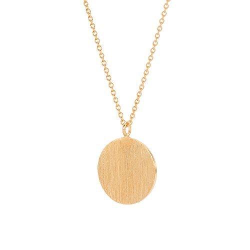 Pernille Corydon Kette Kreis Anhänger Damen Gold - Coin Serie Halskette flaches Plättchen - Kettenverlängerung 925 Silber Vergoldet - N002g