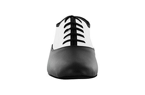 Scarpa da Ballo Stringata in Pelle Bianco e Nero, Tacco 2,5 cm Bianco e nero