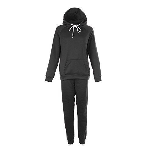 laamei Femme Ensemble De Sportwear Sweat-shirt Manche Courte et Pantalon Col Rond Survêtement d'