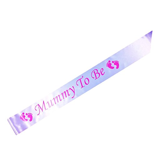 Mummy To Be Baby Shower Party Sash (White & Pink)