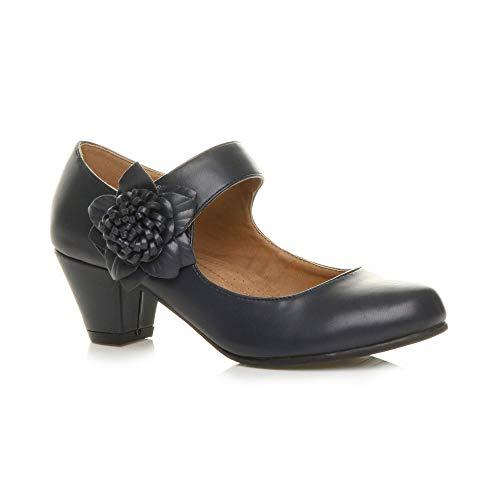 Ajvani Damen Mitte Blockabsatz Lederfutter Komfort Blume Mary Jane Schuhe Größe 5 38 Leder Ankle Strap Pumps