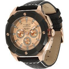 Invicta Signature II Multi-Function Rose Dial Black Leather Mens Watch 7291 image