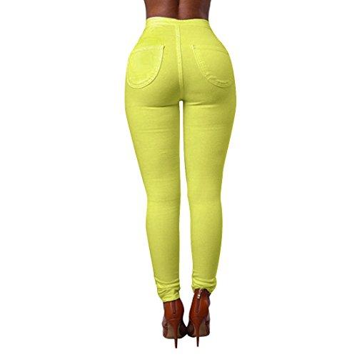 Vertvie Femme Pantalon Skinny Leggings Crayon Casual Stretch Taille Haute Extensible Doux Jaune Fluo
