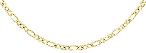 14 Karat 585 Gold Italienisch Flach Figaro Gelbgold Unisex Kette - Breite 3 mm - (55)