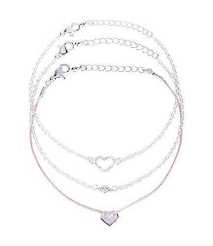 SIX 3er-Set Damen Armbänder, Armkettchen, Armschmuck, Gliederkette, Stoffarmband, rosa, Herzen, Zirkonia-Schmucksteine, Silber (748-745)