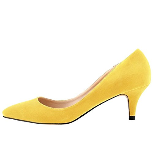 EKS Damen Pointed Toe Sexy Thin Low Heel Dress Pumps Shoes Gelb-Faux Wildleder