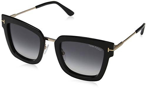 Tom ford ft0573 01b 52, montature unisex-adulto, (nero lucido\\fumo grad), 52.0